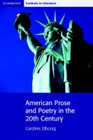 American Prose and Poetry in the 20th Century: Book by Caroline Zilboorg