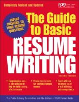 The Guide to Basic Resume Writing: Book by Public Library Association