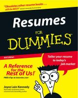 Resumes for Dummies: Book by Joyce Lain Kennedy