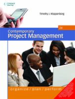 Contemporary Project Management: Organize, Plan and Perform (English) 2nd Edition (Paperback): Book by Timothy J. Kloppenborg