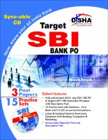 Target SBI Bank PO Exam 15 Practice Sets Workbook with SYNC-ABLE CD (English 2nd edition): Book by Disha Experts