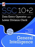 SSC 10 + 2 Data Entry Operator and Lower Division Clerk - General Intelligence (English) 1st  Edition