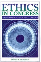Ethics in Congress: From Individual to Institutional Corruption: Book by Dennis F. Thompson