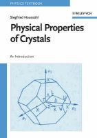Physical Properties of Crystals: An Introduction:Book by Author-Siegfried Haussuhl