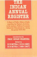 The Indian Annual Register: A Digest of Public Affairs of India Regarding The Nation's Activities In The Matters, Political, Economic, Industrial, Educational Etc. During The Period (1945, Vol. Ii),Serial- 55: Book by H.N. Mitra N.N. Mitra; Foreword By Bipan Chandra