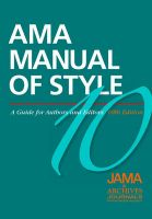 AMA Manual of Style: A Guide for Authors and Editors: Book by American Medical Association