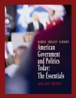 American Government and Politics Today: The Essentials 2006-2007 Edition: Book by Mack C. Shelley