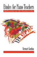 Etudes for Piano Teachers: Reflections on the Teacher's Art: Book by Stewart Gordon