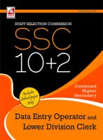 SSC 10 + 2 - Data Entry Operator and Lower Division Clerks (English) 3rd  Edition