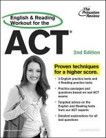 English and Reading Workout for the ACT: Book by Melissa Hendrix,Staff of the Princeton Review