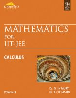 Mathematics for IIT-JEE: Calculus (Volume - 3) PB: Book by Murti G S N