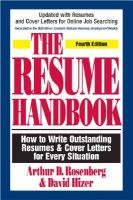 The Resume Handbook: How to Write Outstanding Resumes and Cover Letters for Every Situation: Book by Arthur D. Rosenberg