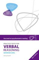 Practice Tests for Verbal Reasoning Advanced: Book by Jeremy Khourdi
