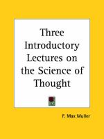 Three Introductory Lectures on the Science of Thought (1887): Book by F. Max Muller