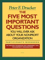 The Five Most Important Questions: Participant's Workbook: The Drucker Foundation Self-Assessment Tool for Nonprofit Organizations: Book by Peter F. Drucker