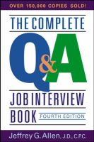 The Complete Q and A Job Interview Book: Book by Jeffrey G. Allen