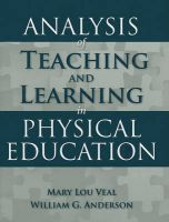 Analysis Of Teaching And Learning In Physical Education: Book by Mary Lou Veal