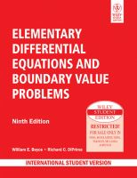 ELEMENTARY DIFFERENTIAL EQUATIONS AND BOUNDARY VALUE PROBLEMS, 9TH ED: Book by WILLIAM E. BOYCE, RICHARD C. DIPRIMA