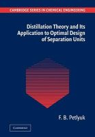 Distillation Theory and Its Application to Optimal Design of Separation Units: Book by F. B. Petlyuk