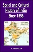 Social and Cultural History of India Since 1556: Book by N. Jayapalan