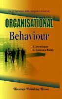 Organisational Behaviour: Book by K. Aswathappa & Sudarsana Reddy