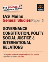 IAS Mains General Studies Paper-2 GOVERNANCE CONSTITUTION, POLITY SOCIAL JUSTICE & INTERNATIONAL RELATIONS: Book by Arihant Experts