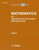 Mathematics for Joint Entrance Examination JEE (advanced): Algebra: Book by Tewani Ghanshyam