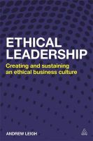 Ethical Leadership: Creating and Sustaining an Ethical Business Culture: Book by Andrew Leigh