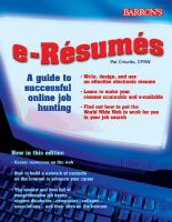 e-Resumes: A Guide to Successful Online Job Hunting: Book by Pat Criscito