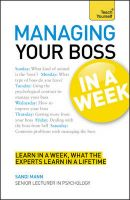 Teach Yourself Managing Your Boss in a Week:Book by Author-Dr. Sandi Mann