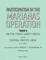 Participation in the Marianas Operation Volume II: Book by U.S. Army Forces in the Central Paci