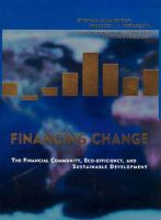 Financing Change: Financial Community, Eco-efficiency and Sustainable Development: Book by Stephan Schmidheiny