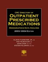 CRC Directory of Outpatient Prescribed Medications: Demographics Data Analysis: 2003/2004: Book by Alan B. Fleischer