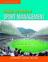 Principles and Practice of Sport Management: Book by Lisa Pike Masteralexis