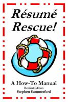 Resume Rescue!: A How-To Manual - Revised Edition: Book by Stephen Summerford
