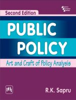 PUBLIC POLICY : ART AND CRAFT OF POLICY ANALYSIS: Book by Sapru R. K.