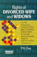 Rights of Divorced Wife and Widows: Book by P K Das