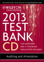 Wiley CPA Exam Review 2013 Test Bank CD, Auditing and Attestation: Book by Ray Whittington, PH.D., CPA, CIA, CMA (DePaul U/McGowan Center)