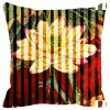 Fabulloso Leaf Designs Red And Green Floral Stripe Cushion Cover - 16x16 Inches