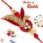 Aapno Rajasthan Leaf Patterned Beautiful Red Zardosi Rakhi - PRS17146