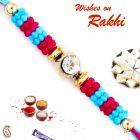Aapno Rajasthan Blue & Pink Beads Thread Rakhi - PRS1737