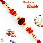 Aapno Rajasthan Red & Golden Beads Studded Rudraksh Rakhi - RD17430