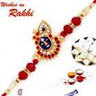 Aapno Rajasthan AD & Red Crystal Beads Studded Lord Motif Rakhi - RJ17209
