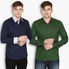 Stylox Mens Cotton Olive Green-Navy Blue Casual Shirt (Pack of 2) (Code - SHT-2CMBO-025-27)
