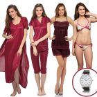 8 Pcs Nightwear Set in Wine with Watch - NSC236G97