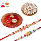 Rakhi Gift Hamper With Thali and Sweets For Brother - Send 2 Rakhi With Ganesh Puja Thali Online India