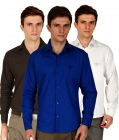Masterly Weft Cotton Blend White, Navy & White Casual Shirts (Pack of 3) - (Product Code - D-SRT-C-4-2-11)