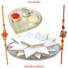 Silver Plated Paan Shaped Puja Aarti Thali with Haldiram Kaju Katli N Rakhi