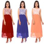 Ravechi Fab set of 3 Long Georgette Semi stitched Kurtis (COMBO3)