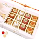 Rakhi Gifts Sweets- Assorted  Sweets in White Box with Rudraksh Rakhi
